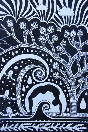 Holly V Maslen Design & Illustration yoga monochrome abstract design