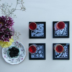 Holly V Maslen Design & Illustration glass coasters monochrome nature abstract design-001